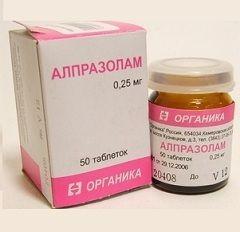 Alprazolam u dozi od 0,25 mg