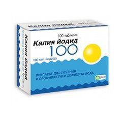 tablete iodură de potasiu în doză de 100 mcg