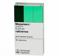 Таблетки Мирапекс 0,25 мг