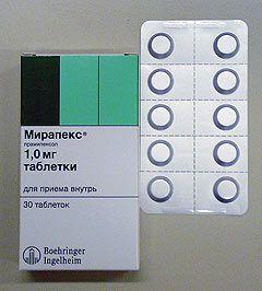 Таблетки Мирапекс 1,0 мг