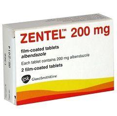 Таблетки Зентел в дозировке 200 мг